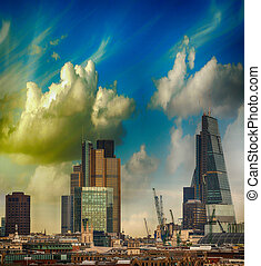 London skyline Modern buildings on the southern side of...