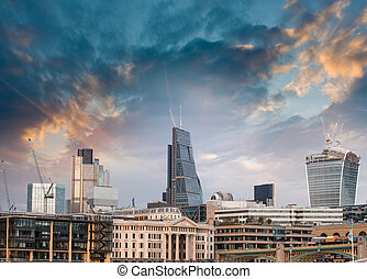 London, UK Beautiful sunset view of city modern skyline