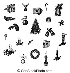 Big set of hand drawn ink Christmas symbols Raster...