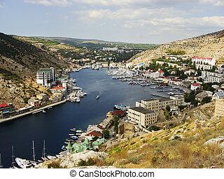 Balaklava town and Balaklava Bay, Crimea, Ukraine