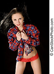 feminine portrait - girl in the flannel shirt