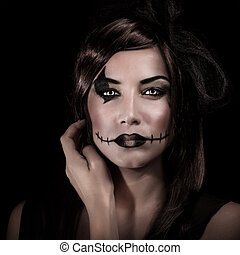 Scary Halloween style - Closeup portrait of young woman with...