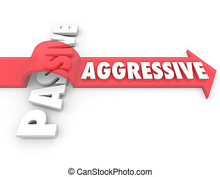 Aggressive Arrow Over Word Passive Action Vs Inaction Attitude
