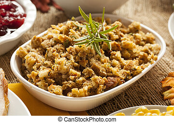 Homemade Thanksgiving Stuffing Made with Bread and Herbs