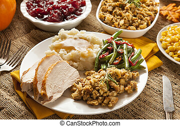 Homemade Turkey Thanksgiving Dinner with Mashed Potatoes,...