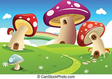 Mushroom houses - A vector illustration of mushroom fantasy...