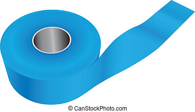 Blue industrial tape for painting work. Vector illustration.