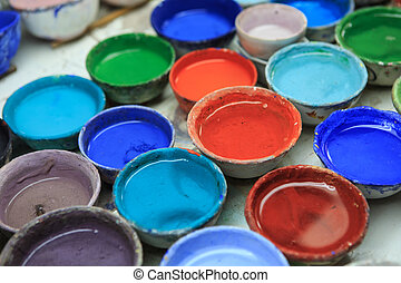 water-color in a cup for painting a porcelain