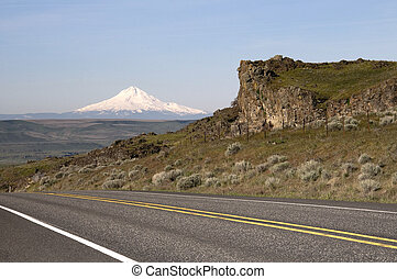 Two Lane Highway Reveals Mt Hood Cascade Range Landscape -...