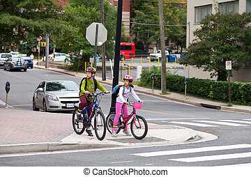 Kids Biking to School on Internation Walk and Bike to School...