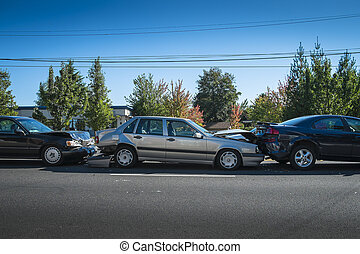 Three-car accident - Three cars involved in an accident on a...
