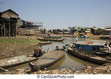 Cambodia - Kompong Chhang Fishing Village located on the...