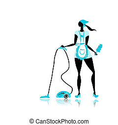 Girl maid with vacuum cleaner for your design