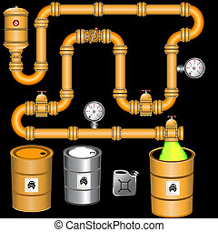 yellow pipeline background - Illustration of an industrial...
