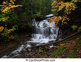 Wagner Falls in Autumn, Michigan State Park, Alger County,...