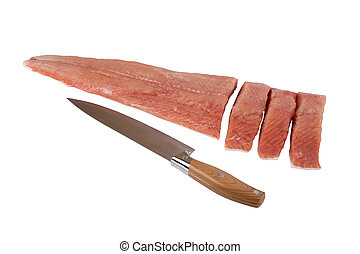 siberian salmon - Fish Siberian salmon cut filet and knife...