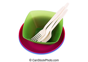 plastic ware - Plastic ware of various colors isolated on...