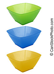 salad dish - Plastic salad dish of various colors isolated...