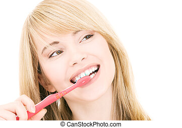 happy girl with toothbrush - picture of happy girl with...