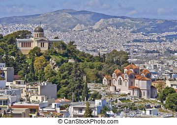 StMarei and the national observatory, Athens cityscape,...