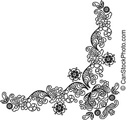 Mehndi angle - Hand-Drawn henna Mehndi Abstract Flowers...