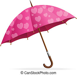 Pink heart Umbrella , isolated on white background