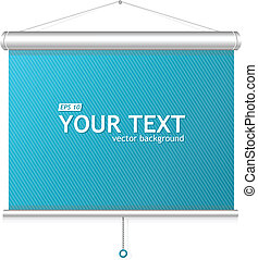 Blank roll up poster - display on blue background