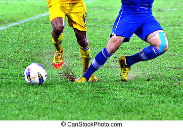 soccer player leg in action