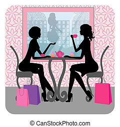beautiful girls talking in a cafe - Silhouette of two...