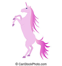 beautiful pink unicorn rearing up - Vector Illustration of...