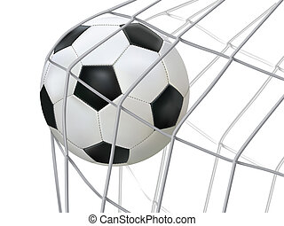 soccer ball hitting on net. - Vector illustration of soccer...