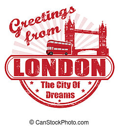 Greetings from London stamp