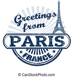 Greetings from Paris stamp - Grunge rubber stamp with text...