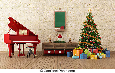 Vintage christams room with red grand-piano - Vintage living...
