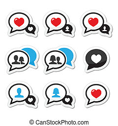 Love, speech bubbles vector icons