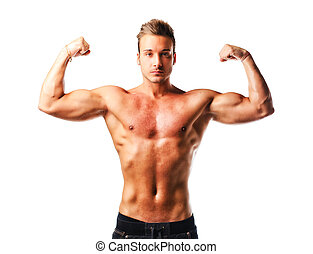 Attractive young muscular man naked posing, double biceps...
