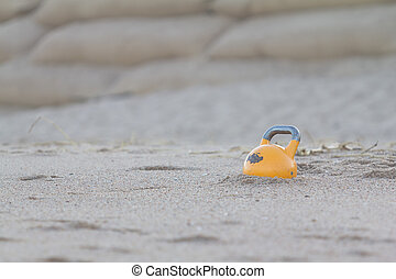 Kettlebell on beach