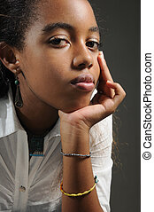 Pensive african teen - Portrait of young trendy african...