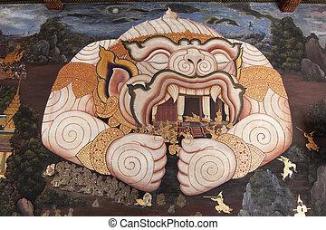 Mural painting at the Temple of Emerald Buddha - BANGKOK,...