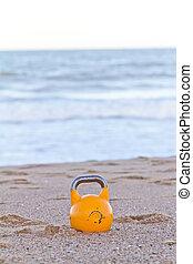 Kettlebell on beach