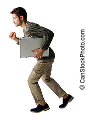 Handsome young man with briefcase running, isolated -...