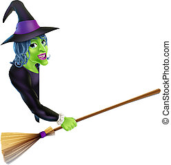 Halloween Witch Pointing with Broom - An illustration of a...