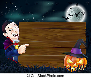 Halloween Dracula wooden sign - A cartoon Halloween Dracula...