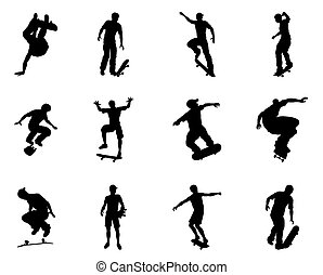 Skateboarder silhouette outlines - Very high quality and...