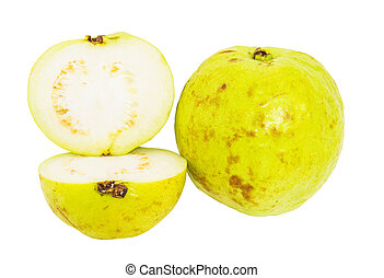 Guava Fruit - Slices of guava fruit over white background