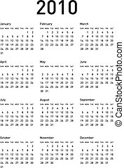 calendar2010_d02 - Simple Calendar for year 2010 vector...