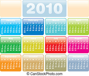 calendar2010_eg01 - Colorful Calendar for year 2010 in...