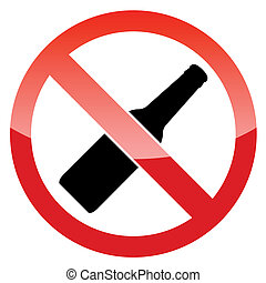 No alcohol vector sign on a white background