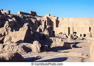 Ancient town of Bam, during reconstruction of damage by 2003...