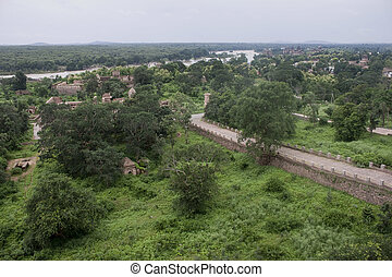 Old palaces and countryside in Orchha, India